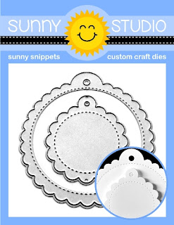 Sunny Studio Stamps: Stitched Scalloped Circle Gift Tag 2-piece Metal Cutting Die Set