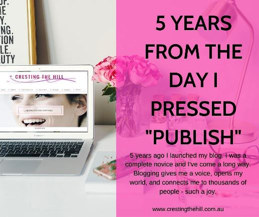 5 years ago I launched my blog. I was a complete novice and I've come a long way. Blogging gives me a voice, opens my world, and connects me to thousands of people - such a joy.