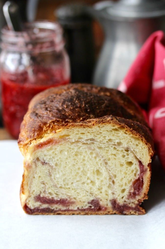 Strawberry Swirl No-Knead Brioche with Strawberry Lime Jam
