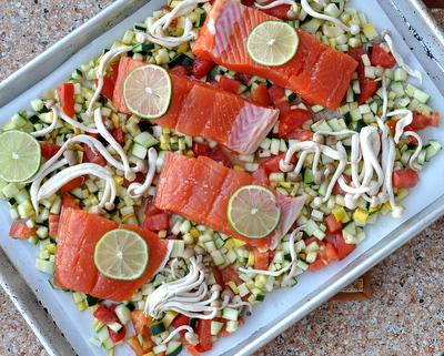Roasted Salmon with Garden Hash & Creamy Avocado Sauce cooked on a sheet pan, a Quick Supper recipe ♥ AVeggieVenture.com. Low Carb. High Protein. WW7.