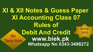 XI Accounting Class 07 Rules of debit & Credit