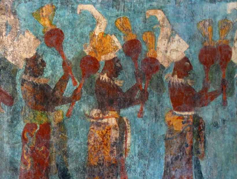 Fragmento de mural maya del sitio de Bonampak