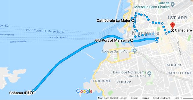 Mapa do roteiro de um dia em Marselha