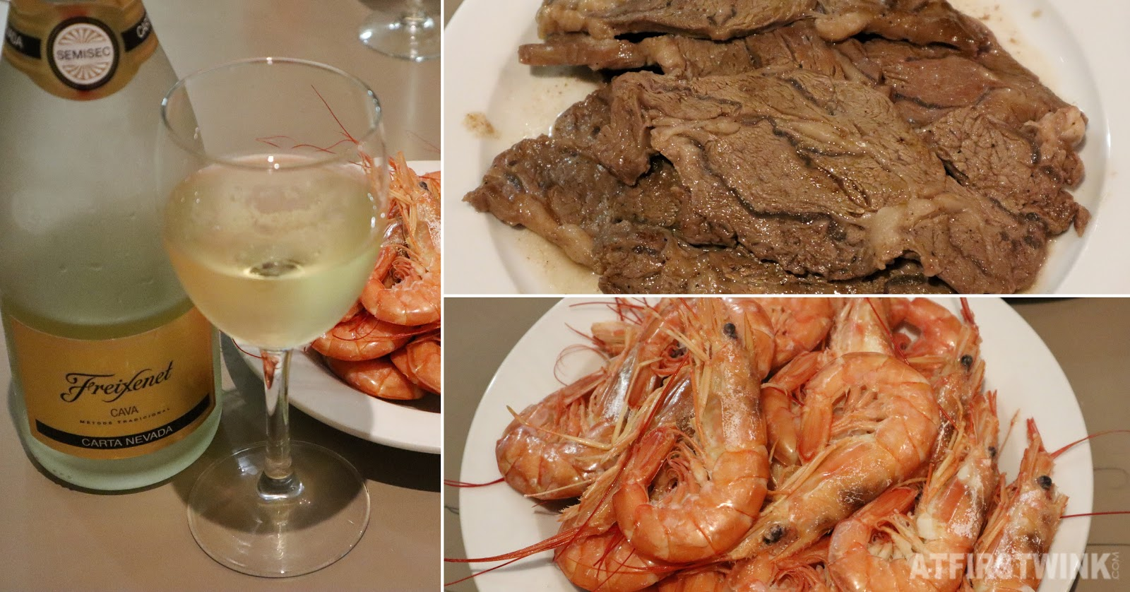 Freixenet cava carta Nevada beef shrimp