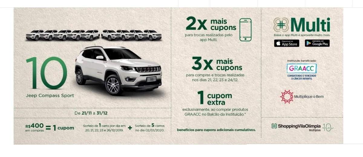 Promoção Vila Olímpia Shopping Natal 2019 - 10 Jeep Compass
