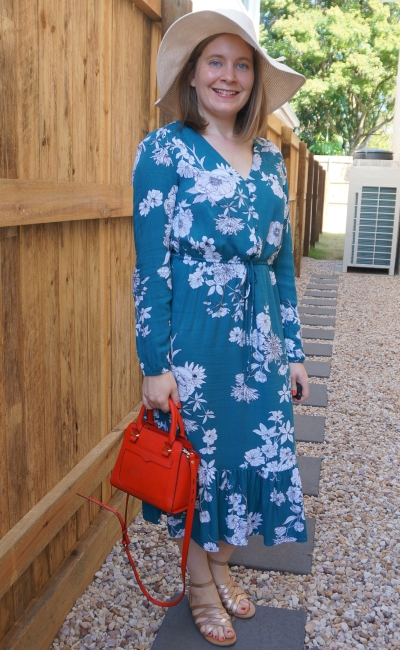 kmart teal floral midi dress for backyard party with sunhat and gold sandals | awayfromblue