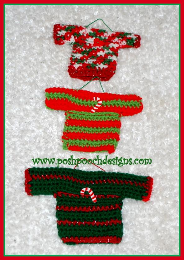 Posh Pooch Designs Dog Clothes Mini Sweater Ornaments Crochet Pattern