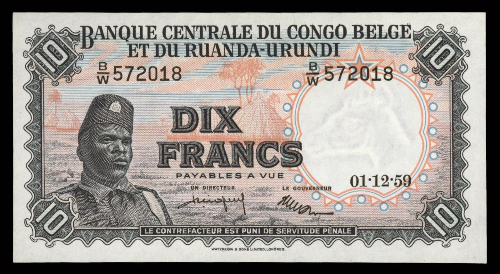 Belgian Congo banknotes 10 Francs soldier
