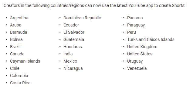 Youtube Shorts Expansion to Other Countries