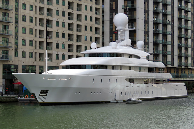 "The 242 ft yacht ""Ilona"", built by Amels, West India Dock, Isle of Dogs, London"
