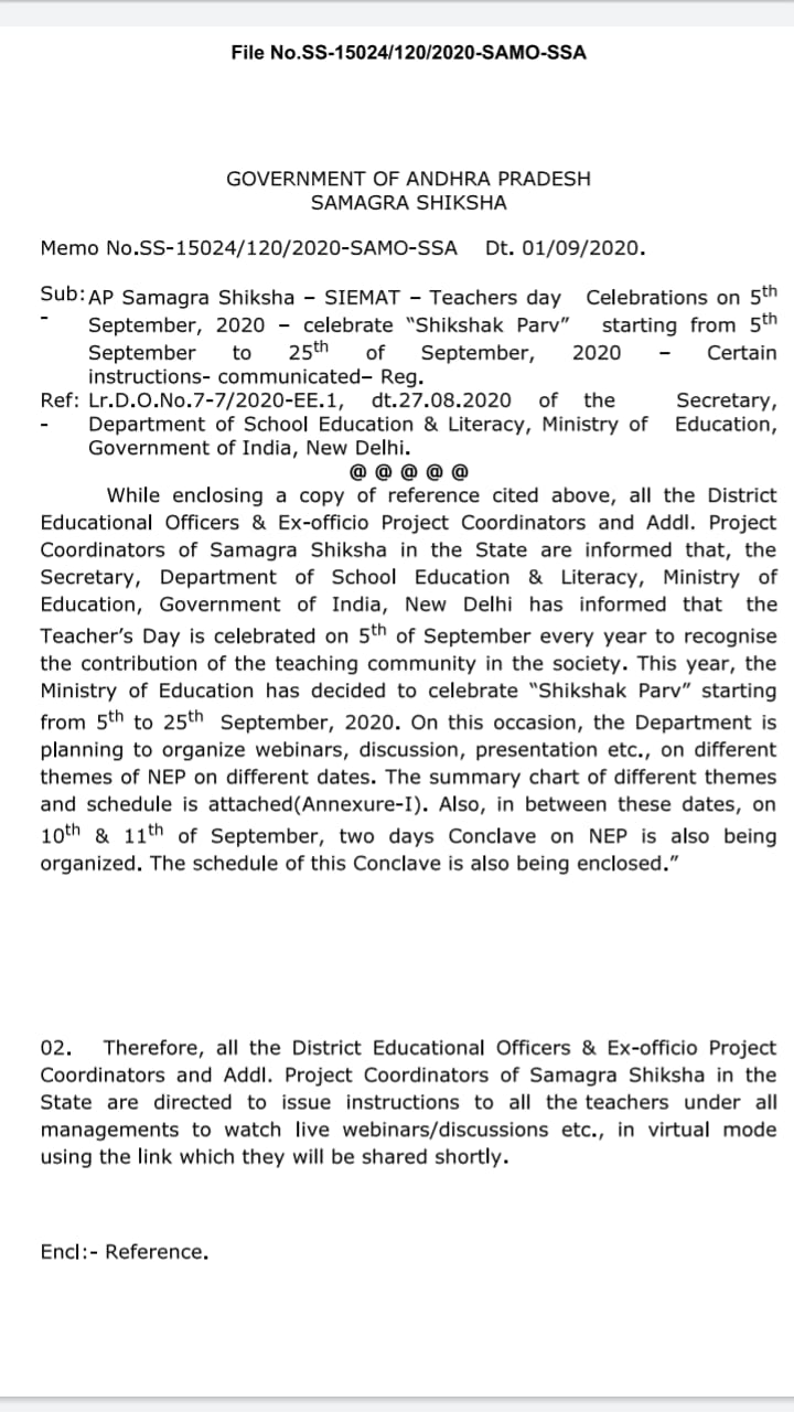 Orders to do various activities in the name of Shiksha Parv in school from 5th to 25th September. Full details of their activities for the day