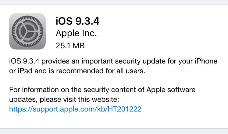 آبل تطلق iOS 9.3.4 للايفون والايباد