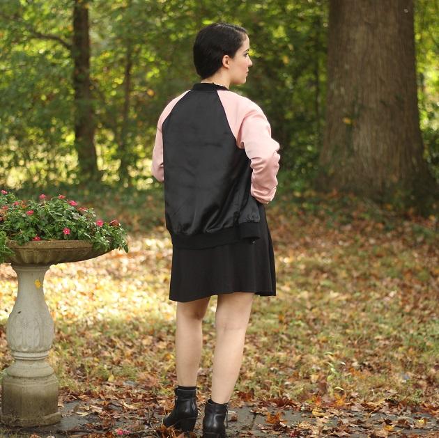 Pink and Black Rose Applique Jacket