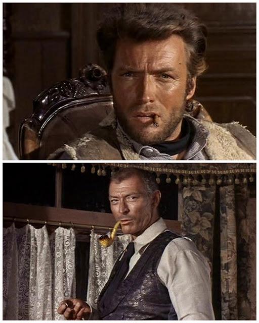 Clint Eastwood et Lee Van Cleef dans ET POUR QUELQUES DOLLARS DE PLUS de Sergio Leone :- C'est une question indiscrète peut-être ?    - Non. J'estime que les questions ne le sont jamais, mais les réponses bien souvent.