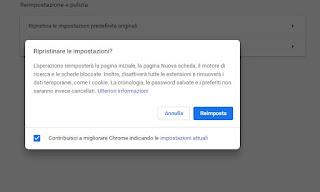 Reimposta Chrome