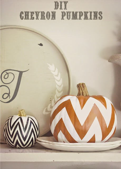 Chevron painted pumpkin white and black Halloween decor