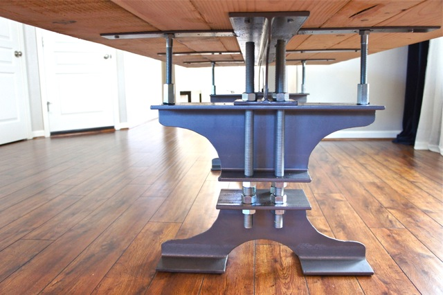 table leg nuts pretty dubs diy i beam dining table rustic and industrial