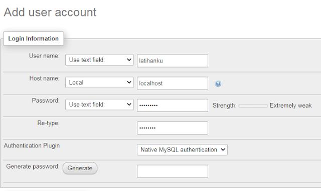 membuat user dan password pada database wordpress