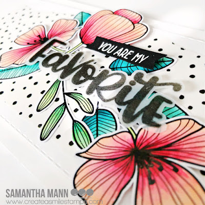 You are My Favorite Card by Samantha Mann for Create a Smile Stamps, Slimline Cards, Card Making, Altenew Washi, Heat embossing, Fussy Cut, flowers #createasmile #createasmilestamps #flowers #slimlinecard #slimline