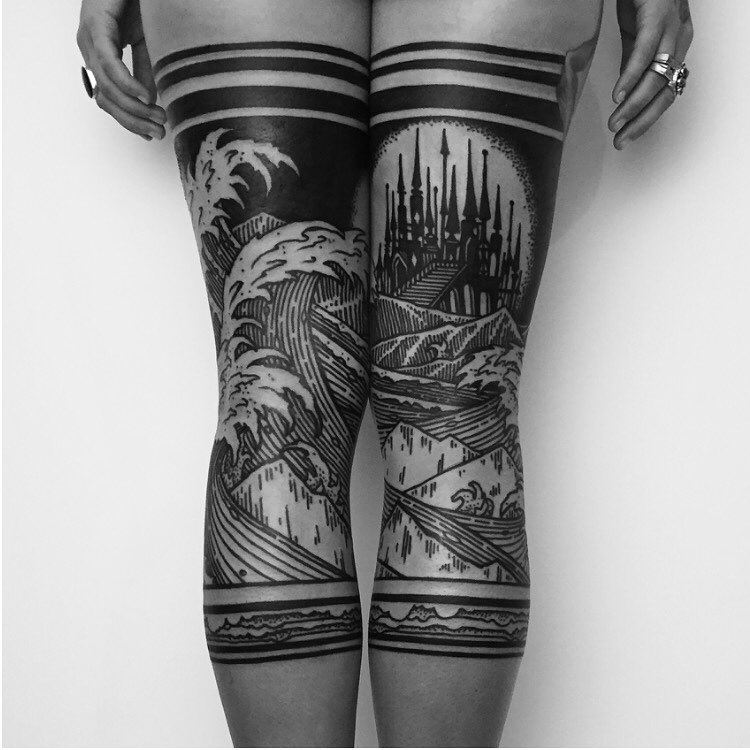Amazing Thigh Tattoo For Women