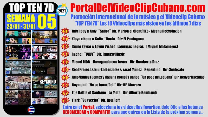 Artistas ganadores del * TOP TEN 7D * con los 10 Videoclips más vistos en la semana 05 (25/01 a 31/01 de 2021) en el Portal Del Vídeo Clip Cubano