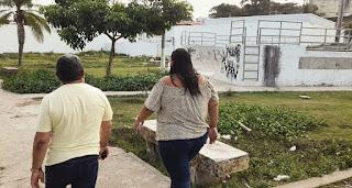 Nal Fernandes visita local de prática de esportes e constata descaso