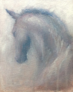 fleeting, horse in snow, equestrian art, contemporary equestrian fine art