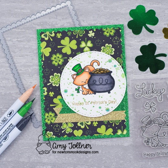 Happy St. Patrick's Day by Amy T. features Newton's Pot of Gold, Circle Frames, and Frames & Flags by Newton's Nook Designs; #newtonsnook, #inkypaws, #stpatricksday, #catcards, #cardmaking