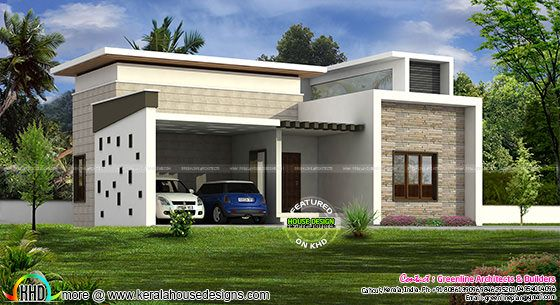 Single Floor Home With 2 Car Porch Kerala Home Design