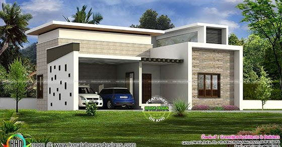 Front Car Porch Elevation : Single floor home with car porch kerala design