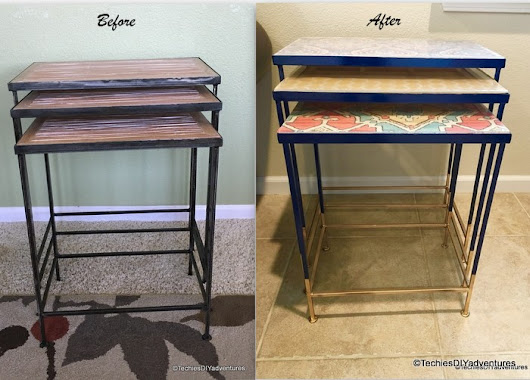 Gold Dipped and colorful Nested Tables Makeover