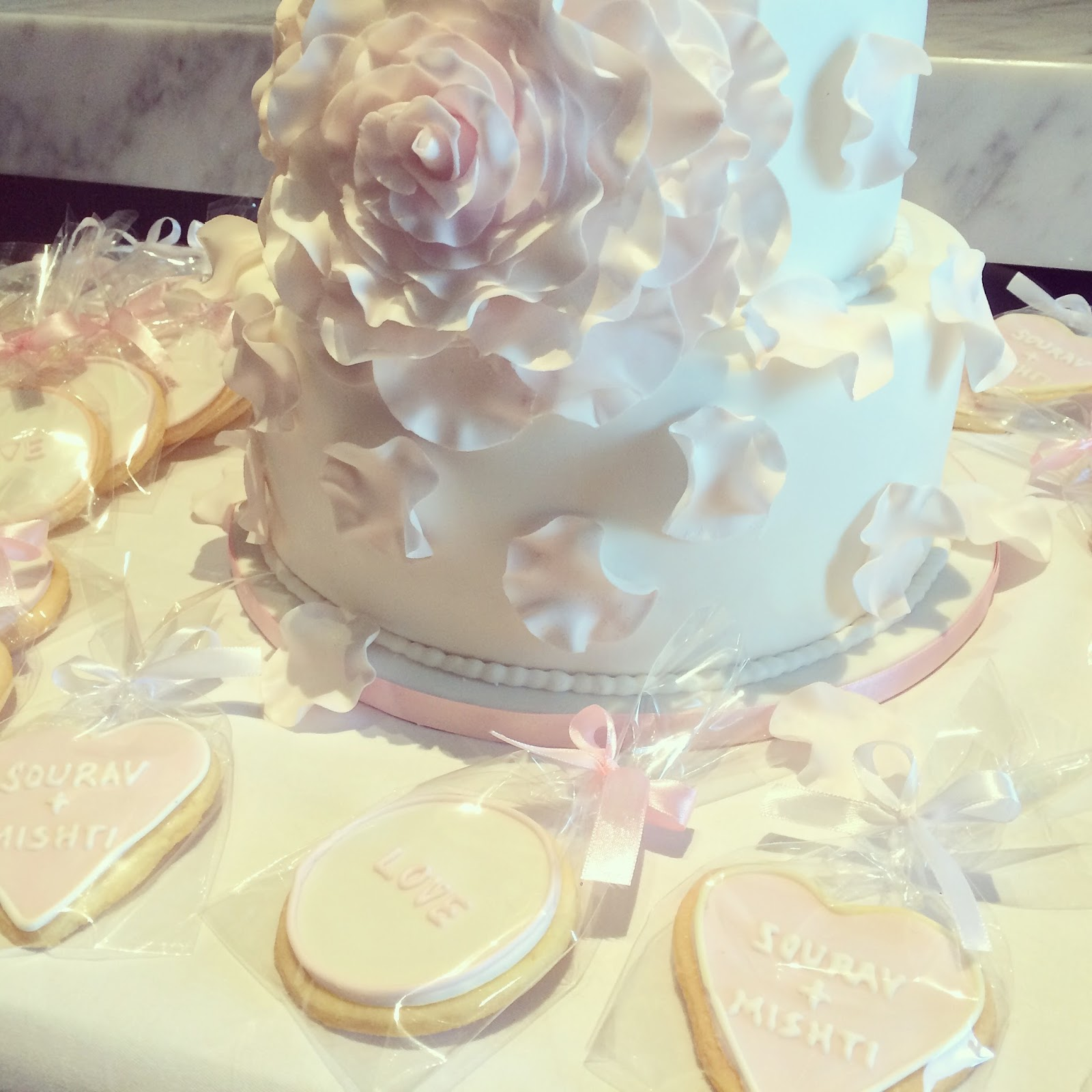 Blush Pink Wedding Cake Cookies