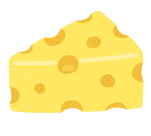 三角形のチーズのイラスト(エメンタールチーズ)