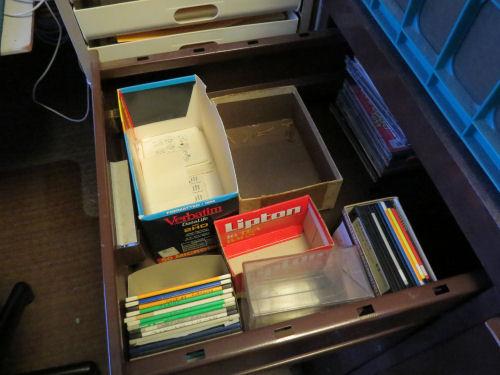 drawer full of 3.5 inch floppy disks