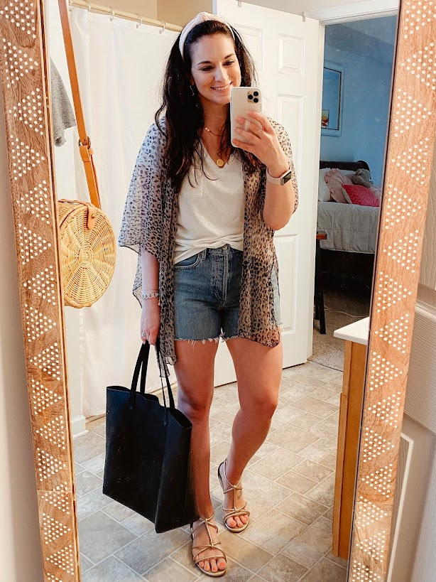 style on a budget, leopard kimono, nc blogger, north carolina blogger, spring outfits, summer style