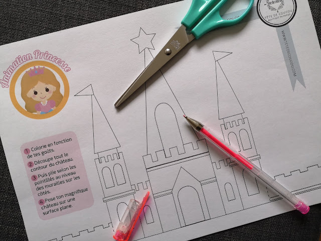 Gratuit Animation anniversaire princesse fille rose coloriage et découpage château à imprimer tête de coucou