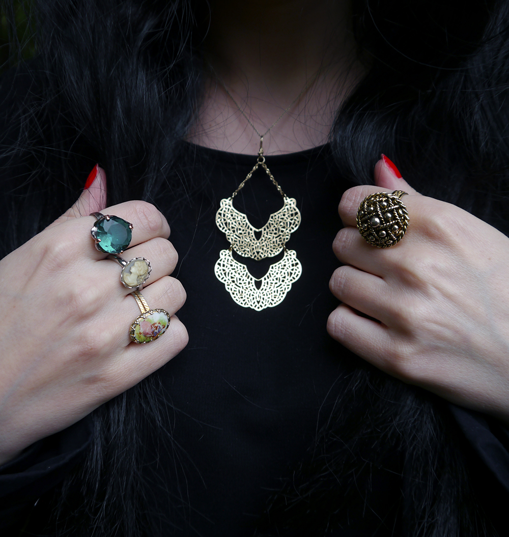 Lots of rings and a DIY necklace inspired by The Love Witch film