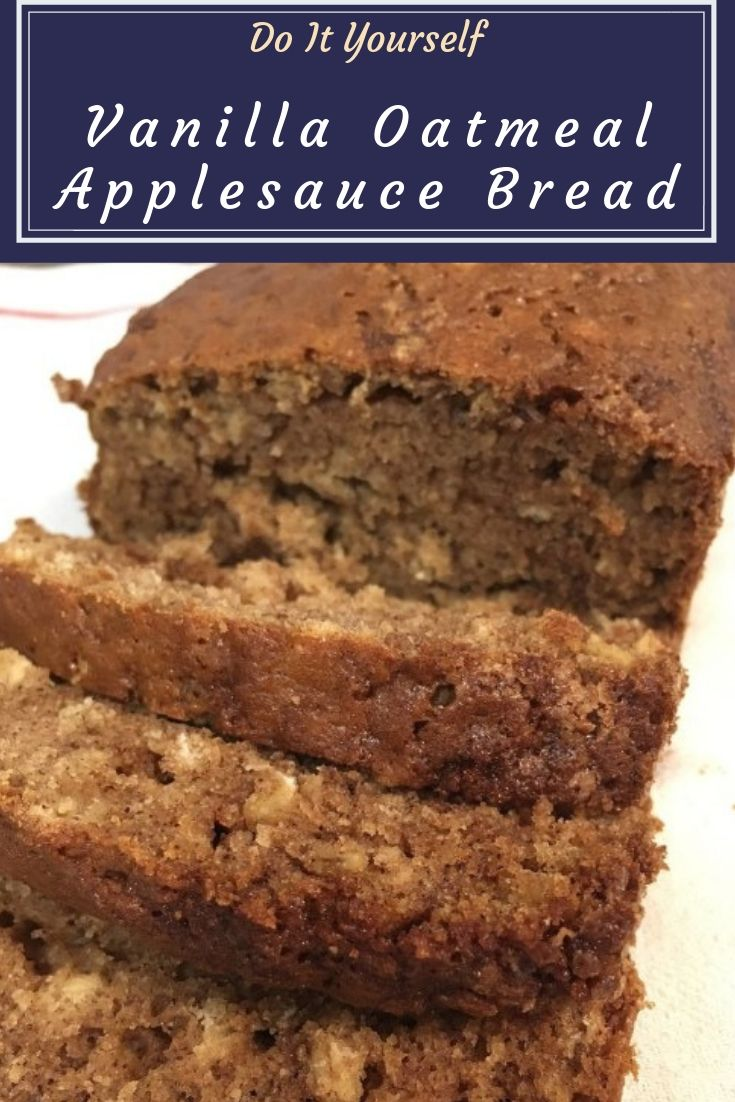 Vanilla Oatmeal Applesauce Bread - A moist sweet bread filled with applesauce, apple pie spices, and rolled oats. Perfect for breakfast or dessert.