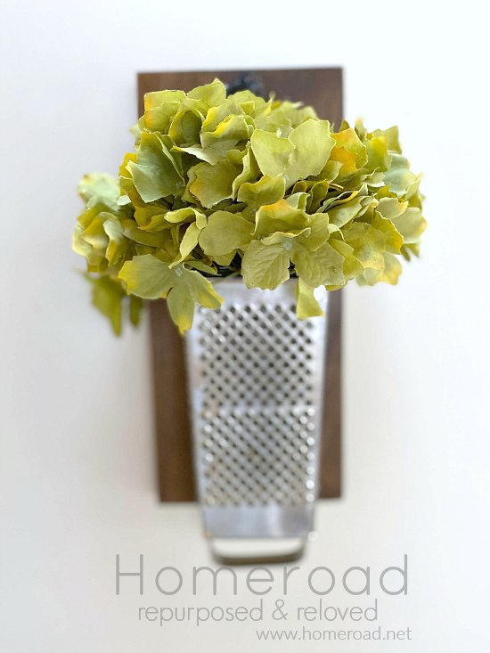 DIY cheese grater wall vase and kitchen organizer