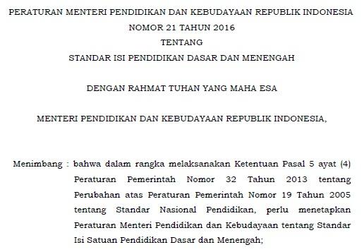 Download Permendikbud No 21 Tahun 2016 Tentang Standar Isi Pendidikan Dasar dan Menengah