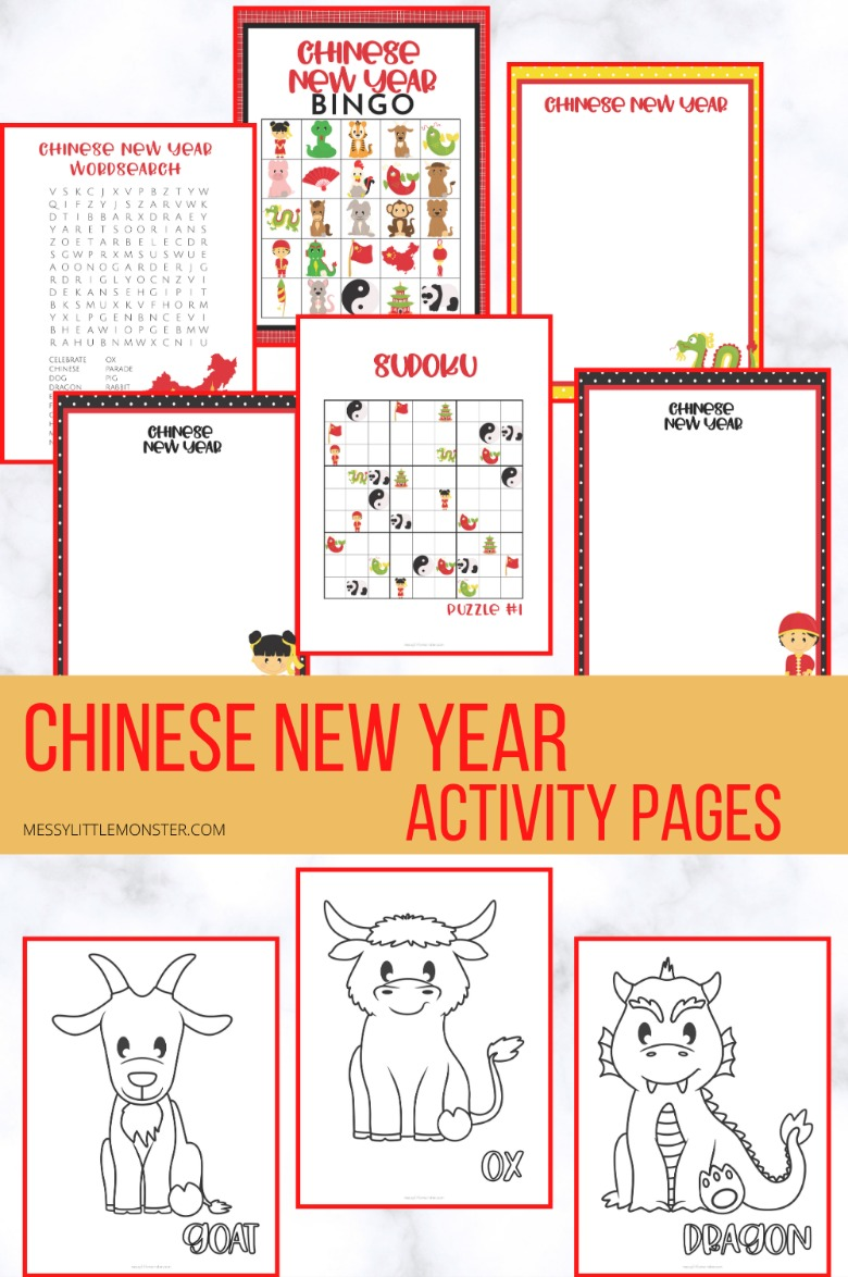 Chinese New Year coloring pages. Chinese zodiac coloring pages for kids.