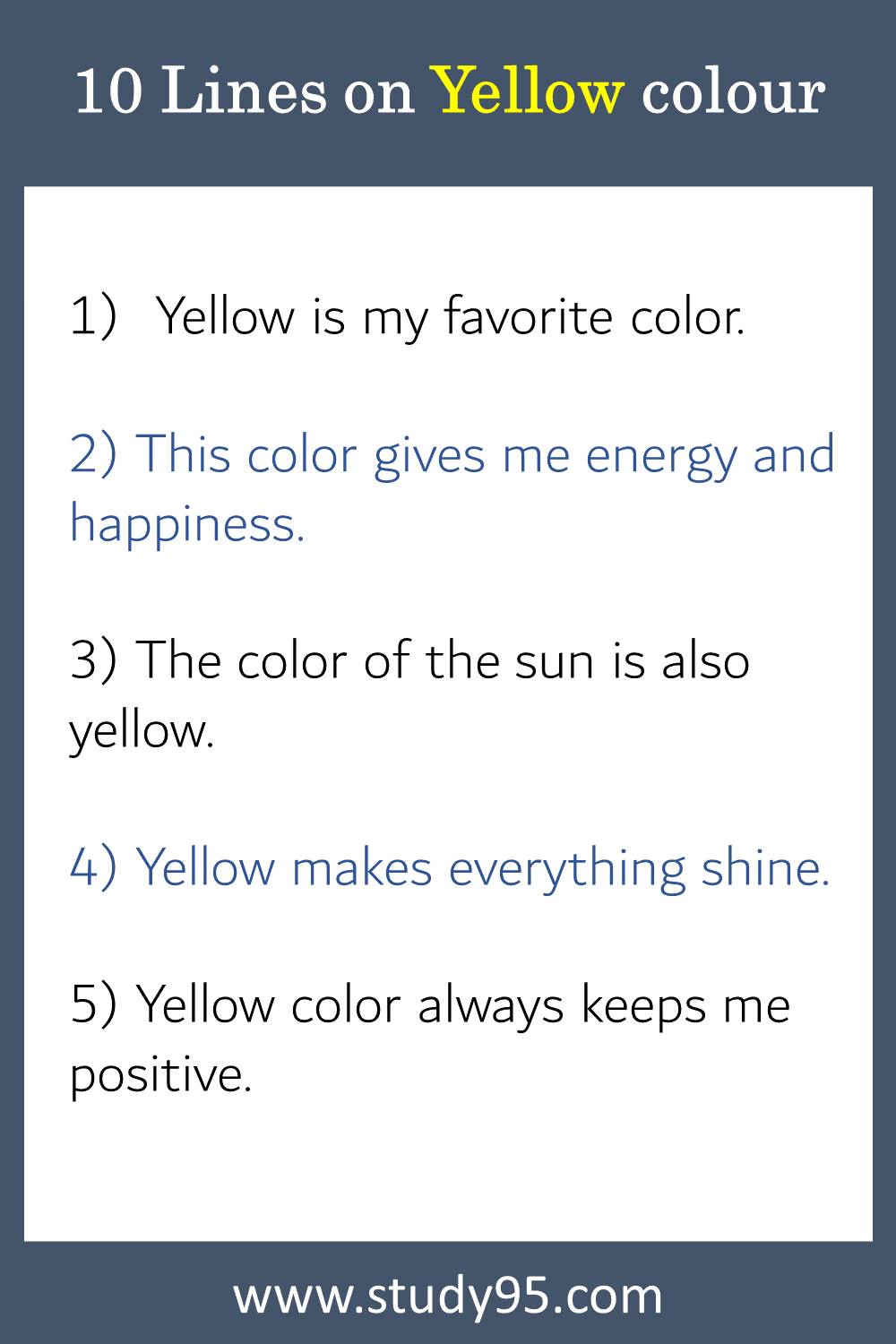 10 Lines on Yellow colour