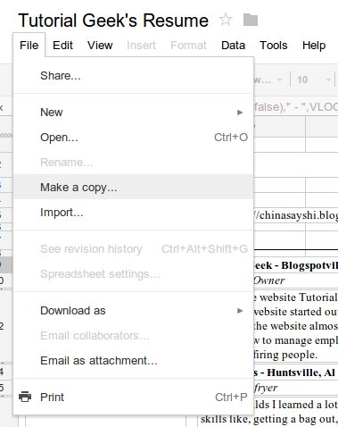 How to make a Google Doc Spreadsheet template for a dynamic resume ...