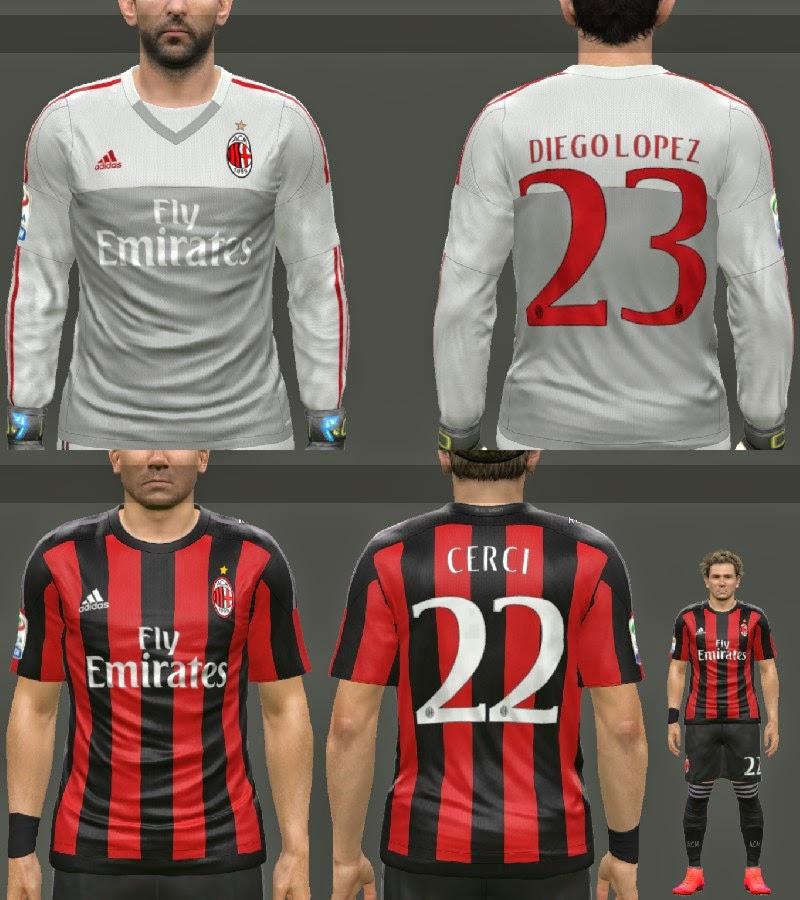 pes-modif: PES 2015 AC Milan 2015-16 Home/GK Kits by MoHaMmAd