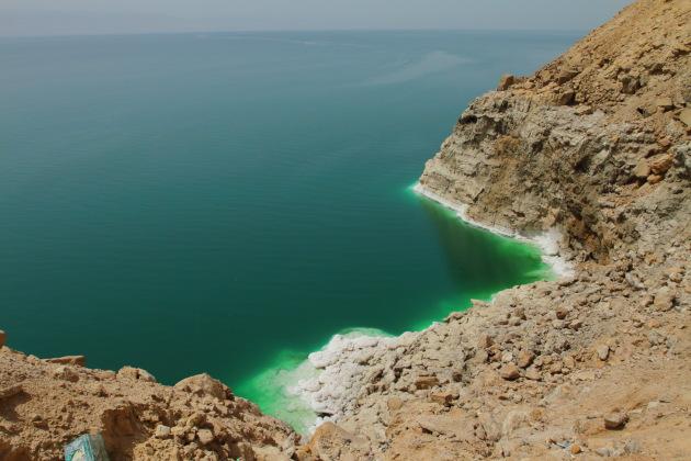 Salt rocks by the Dead Sea from a view point, Jordan