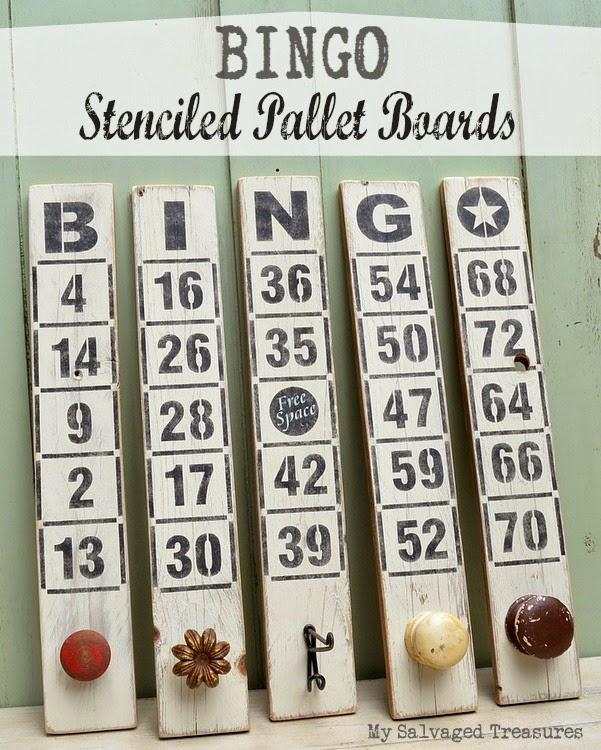 repurposed pallet boards stenciled Bingo game boards vintage