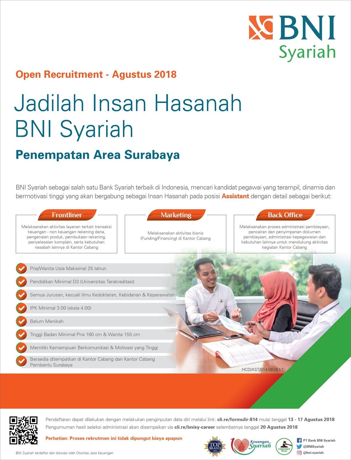 Lowongan Kerja Online Pt Bank Bni Syariah Tbk Rekrutmen Lowongan Kerja Bulan Juli 2021