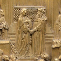 King Solomon and the Queen of Sheba on the Gates of Paradise by Lorenzo Ghiberti, has similar pose like Arnolfini Portrait