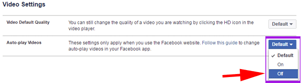 video autoplay off on Facebook for PC