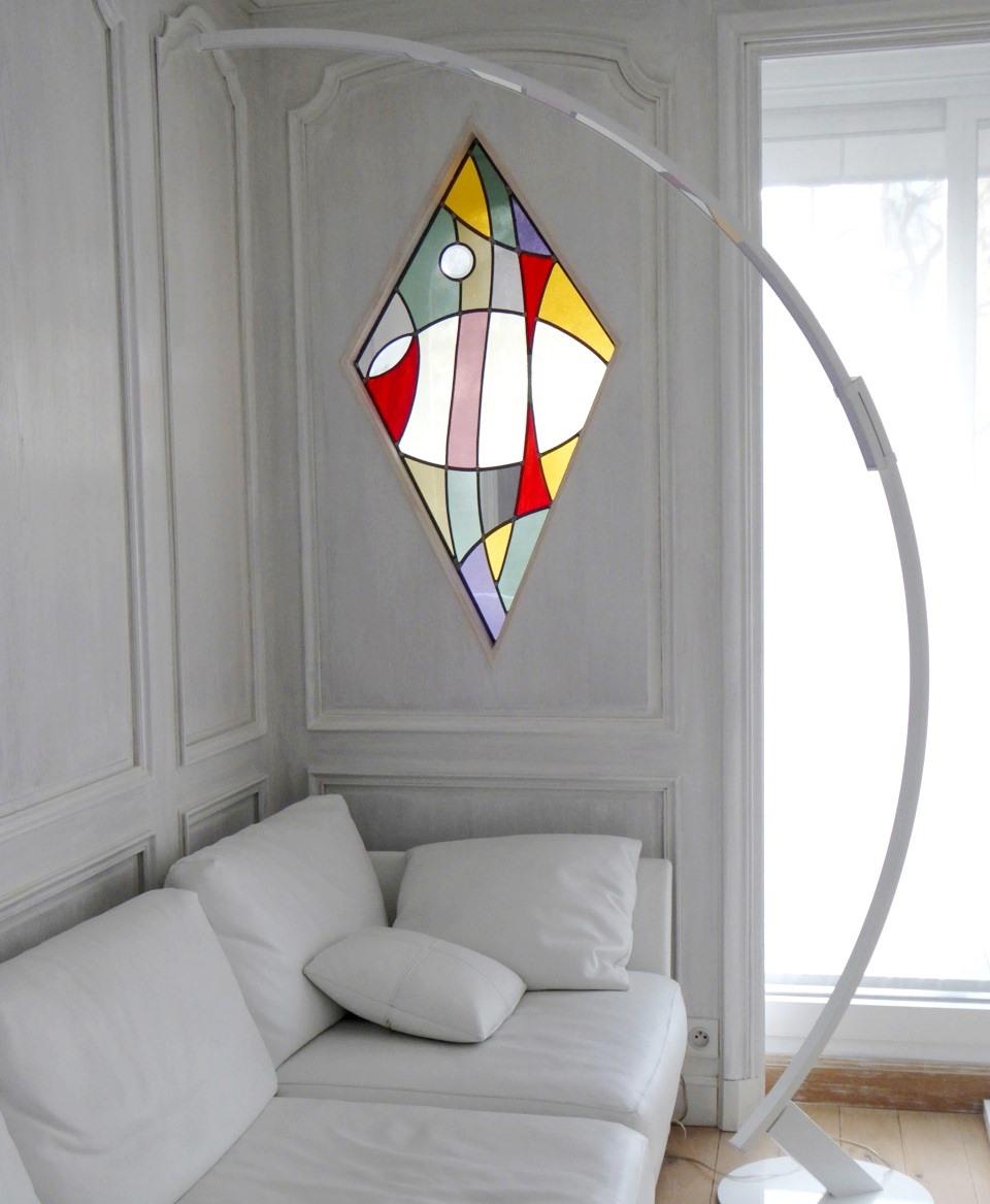 atelier verrier de clermont vitrail verre fusionn stages vitrail contemporain sur fond blanc. Black Bedroom Furniture Sets. Home Design Ideas